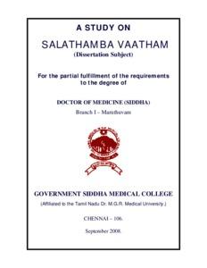A Study on Salathamba Vaatham - EPrints@Tamil Nadu Dr MGR