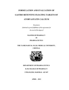 Masters thesis on atorvastatin