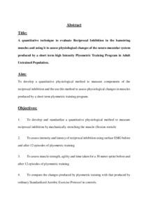 A quantitative technique to evaluate Reciprocal Inhibition